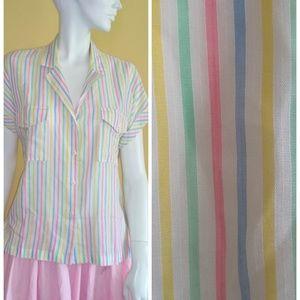 Vintage 1970s rrrruss button down striped blouse